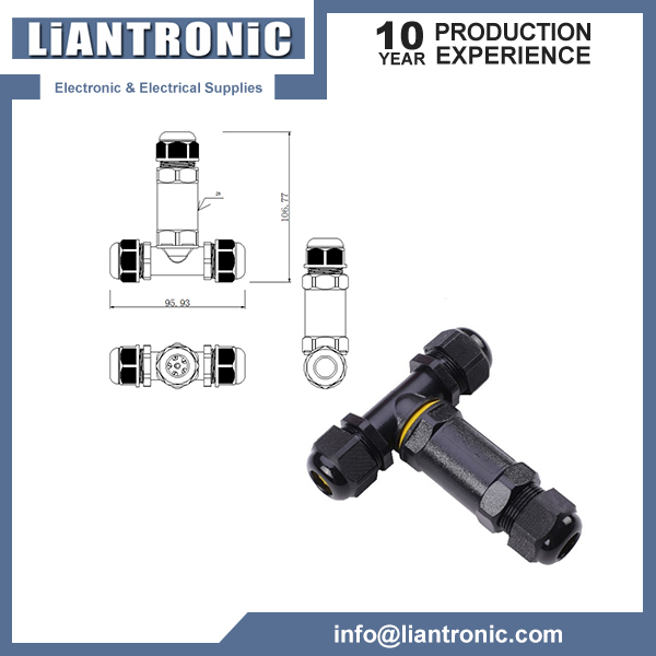 IP68 T type 3Way Waterproof Connector
